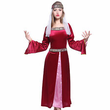 Womens Ladies Maid Marion Costume Medieval Fancy Dress Party Costume Outfit