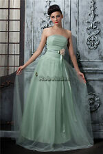 Green A-line Tulle bridesmaids cocktail evening dress ball prom gown flora sale