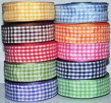2mtrs or 22mtrs GINGHAM RIBBONS  12mm,25mm,38mm  FREE DELIVERY