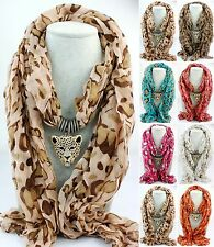 Silver Crystal Leopard Head Shawl Jewelry Scarf Long Animal Pendant Wrap Scarves