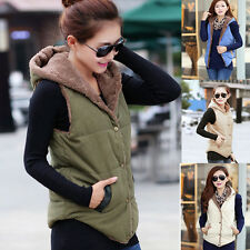 Lady Women Winter Hooded Thick Warm Waistcoat Velvet Vest Hoodie Coat Jacket