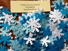 225 Christmas Party FROZEN white blue card snowflakes confetti table decorations