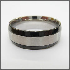 "Personalized Stainless Steel Stamped Black Edged Ring 8mm, ""Handmade"""