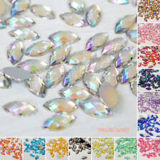 Horse Eye Shape - AB Colors -  Acrylic Flatback Rhinestones Scrapbook Nail Craft