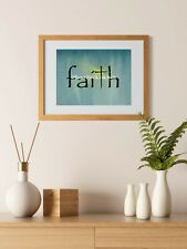 Faith with Cross Bokah and Rays Original Signed Matted Picture Art Print A641