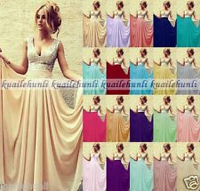 Long Chiffon Formal Wedding Evening Party Ball Gown Bridesmaid Dresses Size 6-18