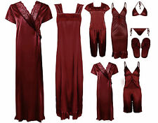 SEXY WOMENS SATIN LACE ROBE LINGERIE NIGHTWEAR DRESS SLEEPWEAR 11PC SET