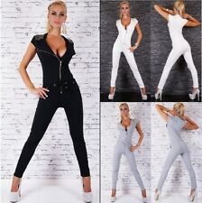 Women's Studded Zipper Drawstring Jumpsuit Overall - S / M / L