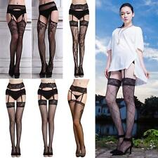Women Unique Tattoo Suspender Sheer Stockings Personality Pantyhose Thigh-Highs