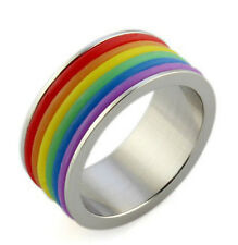 RAINBOW 9MM Gay Lesbian Wedding Stainless Steel Rubber Band Pride Ring