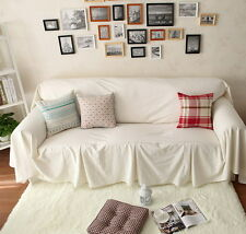 Vintage Style White Cotton Love Seats Couch Cover Throw Sofa Cover / Slipcover