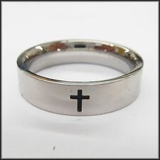 "Personalized Stainless Steel Stamped High Polished Cross Ring 6mm, ""Handmade"""