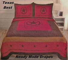 Western Style 3Pc Quilt Bedspread Comforter Set Star Barbed Wire Over Size K Q