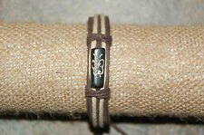 "Hemp and Leather Tribal Bracelet--""Purity"" Black Or Earth Tone Etched Charm"