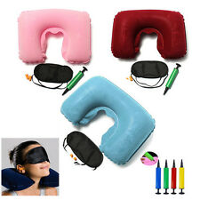 Inflatable Soft Car Head Neck Rest Compact Air Cushion Pillow For Flight Travel
