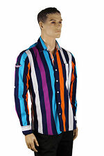 Mens Purple Blue Aqua White Striped VIP Button Up Long Sleeve Collar Dress Shirt