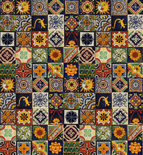 MIXED DESIGNS Mexican Tile Handmade Talavera Backsplash Handpainted Mosaic