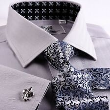 Gray Floral Formal Business Dress Shirt Spread White Contrast Collar French Cuff