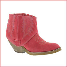 OBSESSION RULES • Coral Pink STROBE Western Suede Ankle Bootie Boot • NEW • $175
