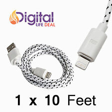 1 x 10 feet B&W Braided Nylon Sync Charger Cord for iPhone 5S/6/6 Plus iOS 8.0