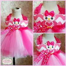 MADE TO ORDER Valentine's Day Owl Pink Tutu Tulle Dress Newborn to Age 10