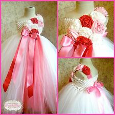 MADE TO ORDER Shades of Pink Valentine's Flower Girl One Shoulder Tutu Dress