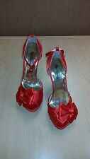 Eye Candie High Heel Shoes Red New Years Dance Christmas Open Toed Dress