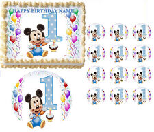 BABY MICKEY MOUSE First Birthday Edible Cake Topper Frosting Sheet All Sizes