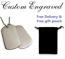 Personalised / engraved Dog Tag pendant chain + gift pouch, perfect present dtd