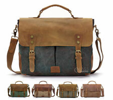 "Vintage Men Canvas Leather 14"" Laptop Briefcase Schoolbag Shoulder Messenger Bag"