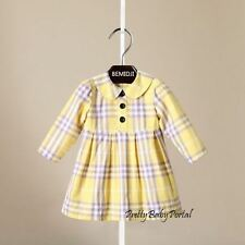 NEW GIRLS Kids Clothes Classic Yellow Plaid Long Sleeve Dress