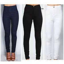 LADIES WOMEN HIGH WAISTED SKINNY SLIM WHITE JEANS JEGGINGS PANTS 6 8 10 12 14