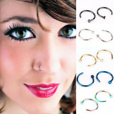 2pcs Stainless Steel Nose Open Hoop Ring Earring Body Piercing Studs Jewelry Hot