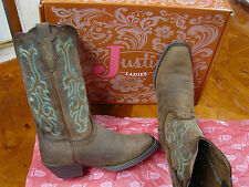 NEW WOMENS JUSTIN SORREL APACHE COWBOY WESTERN BOOTS #L2552 BROWNS AND AQUAS
