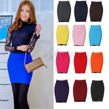 Sexy Women's A-Line Candy Color Elastic High Waist Stretchy Seamless Slim Skirt