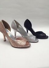 NEW Womens Delicious Tin Penny Silver Black Glitter Peep Toe Mid High Heels Shoe