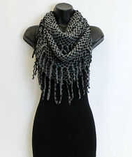 Stylish Women Winter Warm Fringe Infinity Scarf Two Circle Neck Long Shawl