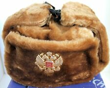 Authentic Russian Military Camel Brown KGB Ushanka Hat W/ Soviet Eagle Badge