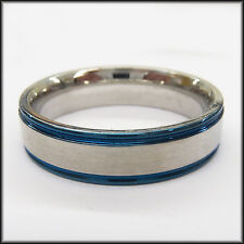 "Personalized Stainless Steel Stamped Blue Edged Ring 6mm, ""Handmade"""