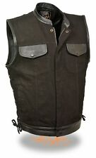 Mens SOA Side Lace Biker Vest Leather Trim & Black Denim Gun Pockets Snap/Zipper