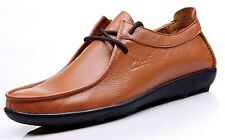 Genuine Leather Shoes Casual Driving Moccasins Men's Lace up Loafers Slip on