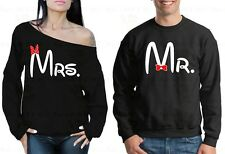 Couple Sweater Mr and Mrs Valentine's Day Gift For him her Off Shoulder Crewneck
