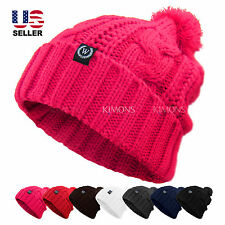 Cable POM-POM Knit Slouchy Baggy Beanie Oversize Winter Hat Ski Cap Skull Womens