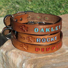 "Brown 1"" Custom Handmade Genuine Leather Dog Collar, Personalized K9 Pet Name"