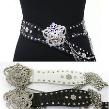Western Fashion Crown Rhinestone Wide Leather Studded Metal Chain Stretch Belt