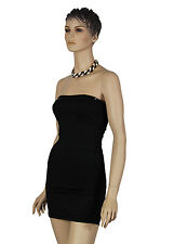 Ladies Black Strapless Sequin Edged Bodycon Evening Party Lingerie Mini Dress