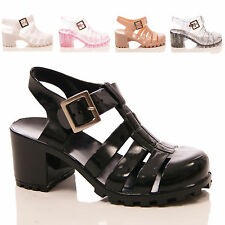 GIRLS CHILDRENS JELLY RUBBER SANDALS BLOCK HEEL GLADIATOR CHUNKY SHOES SIZE