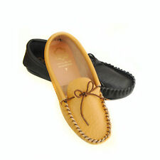 Mens Leather Moccasin Slippers Soft Casual Moccs
