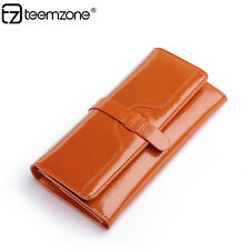 Women Real Leather Trifold Long Wallet Organizer Checkbook ID Coin Purse Handbag