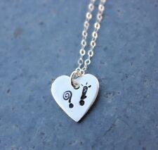 ?! Heart Necklace- Handmade Fine Silver charm - Exclamation Point Question mark